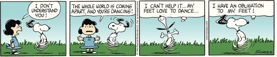 Snoopy happy feet